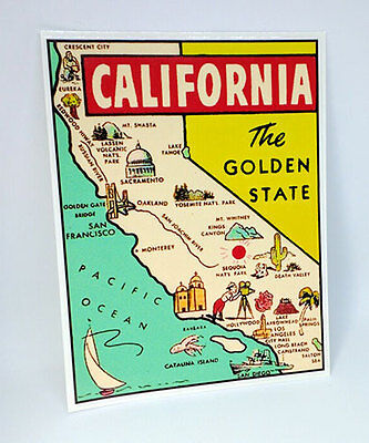 State of California Vintage Style Travel Decal, Vinyl Sticker, Luggage Label