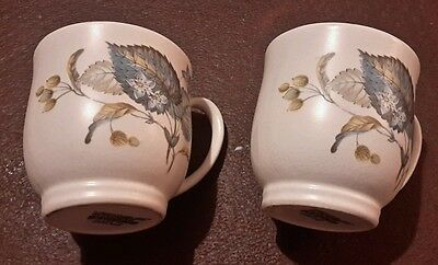 Two sylvac ware pottery cups blue leaf england
