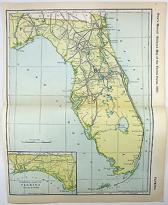 Original 1906 Dated Railroad Map of Florida