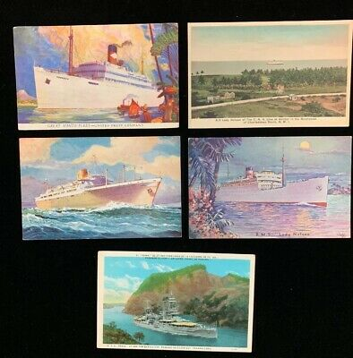 Vintage early 1900's Postcards (5) Different Cruise/Battle/Fleet Ships