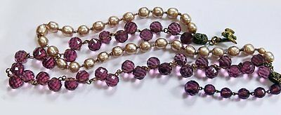 Miriam Haskell  Amethyst Crystals & Baroque Pearl Necklace w/  Bird Clasp Signed