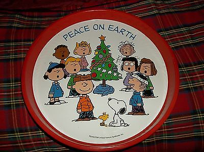 Peanuts Tray With Snoopy , Charlie Brown And The Gang - Peace On Earth  -Vintage