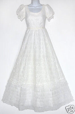 Vintage Nadine White Lace & Layered/Tiered Tulle Romantic Wedding Dress XS/S