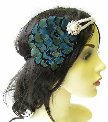 Dark Teal Blue Black Ivory Pearl Feather Headpiece 1920s Headband Flapper 1627