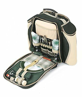 Greenfield Collection Deluxe Two Person Picnic Backpack Hamper - Forest Green