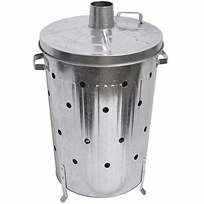 Fire Vida Galvanised Metal Incinerator Fire Bin Waste Burner Grey 75 Litre - NEW