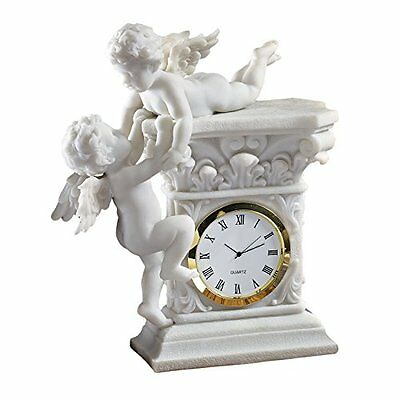 Design Toscano Baroque Twin Cherubs Bonded Marble Desktop Clock - UK SELLER
