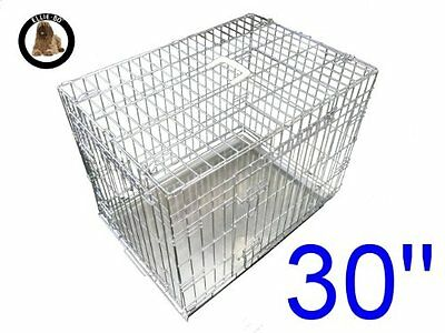 Ellie-Bo Dog Puppy Cage Folding 2 Door Crate with Non-Chew Metal Tray Medium 30-