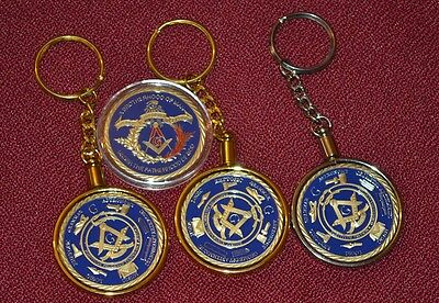 3 Masonic Key Rings And A Madallion In Case