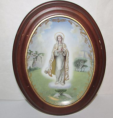Our Lady of Fantima Porcelain Collector Plate Bradford Exchange Wood Oval Frame