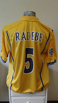 Leeds United Home C/L Football Shirt Jersey 2000-200 RADEBE 5 Large