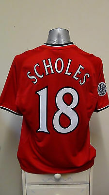 Manchester United Home Football Shirt Jersey 2000-2001 Scholes 18 C/L Large