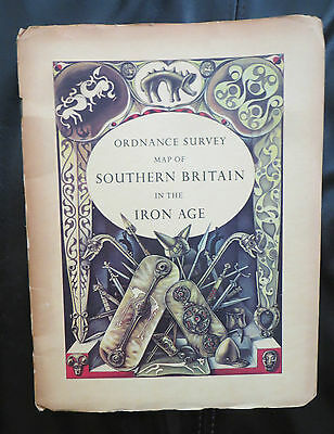 Vintage Ordinance Survey Map of Great Britain In The Iron Age, 1st Edition 1962