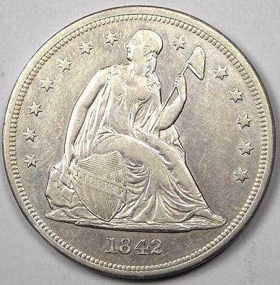 1842 Seated Liberty Silver Dollar $1 - AU Details - Rare Early Type Coin!