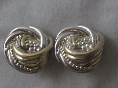Vtg Signed Je Sterling Silver Puffy Faux Knot & Bead Clip On Earrings- 18 Grams