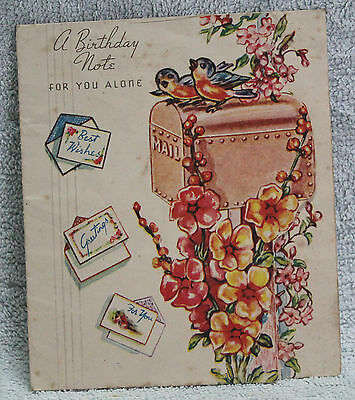 """BEAUTIFUL VINTAGE """"BIRTHDAY NOTE"""" CARD 1940-60's LETTERBOX & FLOWERS + CUTOUT"""