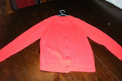 Vintage 1960's Girls Youth RED SWEATER size 8 Button down