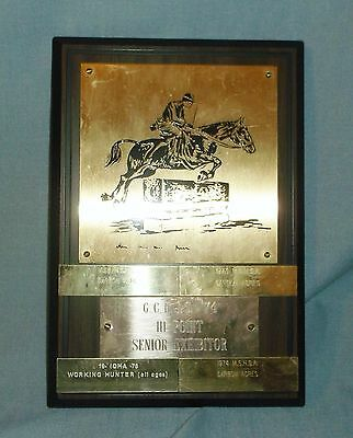 Vintage Hunter Jumper Horse Trophy Plaque Various Plates 60's 70's Hi Point