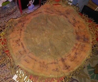 """Rare Native American Indian 25.5"""" Hide Suede Leather Covered Painted Drum Cover"""