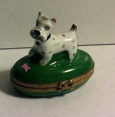 France Signed Limoges Hand Painted Peint Main Small Scottish Terrier Trinket Box