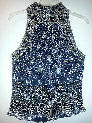 Papell Boutique Evening 100% Silk Black Silver Gold Bead Sequin  Zip Back Top M