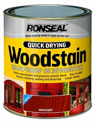 Ronseal QDWSM250 250ml Woodstain Quick Dry Satin - Mahogany