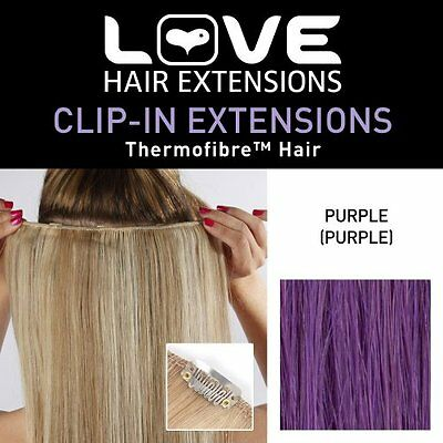 Love Hair Extensions Thermofibre Clip in Extensions Silky Straight Colour PURPLE