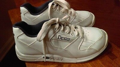 DEXTER Youth White Bowling Shoes Uni Sex Size 4M Ricky II Jr Excellent Condition