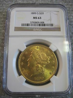 1899-S $20 Gold Liberty NGC MS63 Double Eagle San Francisco Mint