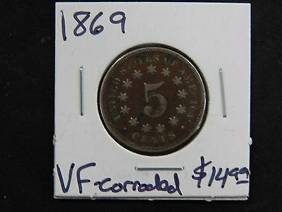 1869 Very Fine 5c Shield Nickel - Corroded
