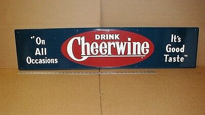 "11""x48"" Cheerwine Soda Pop Gas Station original embossed large Metal store Sign"