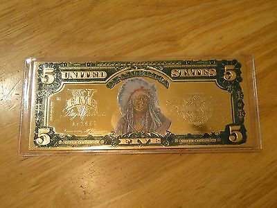 2006 $5 Colorized Indian Head 22Kt Gold Leaf Tribute Certificate