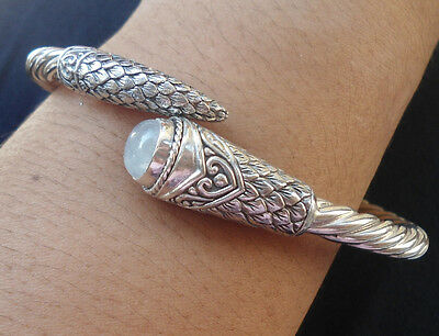 925 Sterling Silver-LB30-Balinese Carved Bangle Cable Dragon Tail & RAINBOW Moon