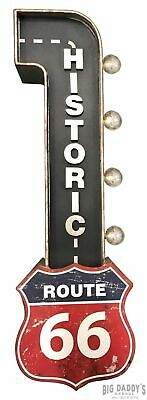 Historic Route 66 Marquee Sign LED Lights, Garage Man Cave Bar Travel Auto Decor