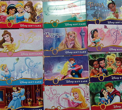 12 DISNEY Gift Cards. collection PRINCESS only