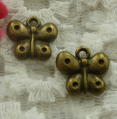 free ship 60 pieces bronze plated butterfly charms 14x13mm #2279