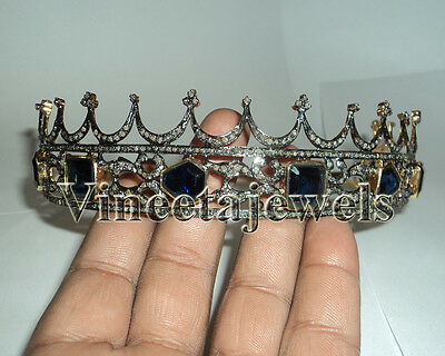 Victorian Reproduction 12.87Ctw. Rose Cut Diamond Sterling Silver Antique Tiara