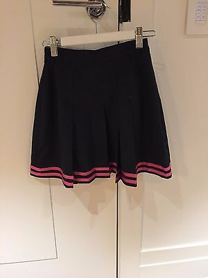 Set of 4 Girls Navy with pink stripe Size 10 Polyester Netball skirt
