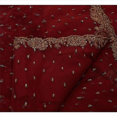 Sanskriti Vintage Indian Saree Net Mesh Hand Beaded Fabric Zardozi Ethnic Sari