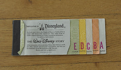 Disney Land Admission Book Eintrittskarte Adult Erwachsene 1970 VTG Walt Disney