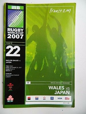 Rugby  World  Cup  France  2007  Programme  Pool B   WALES  v  JAPAN