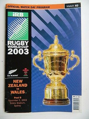Rugby  World  Cup  2003  Sydney  NEW  ZEALAND  v  WALES   Programme