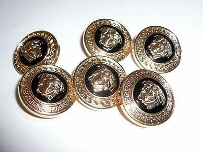 """6 GIANNI VERSACE VERSACE MEDUSA HEAD GOLD METAL BUTTONS-6x1"""" BUTTONS-NEVER USED"""