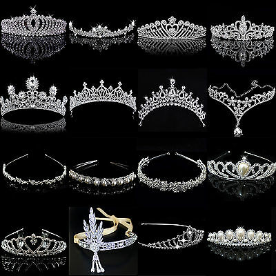 Bridal Princess Rhinestone Pearl Crystal Hair Tiara Wedding Crown