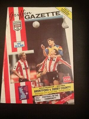 Brentford vs Derby County Anglo Italian Cup Semi-Final football programme 1993