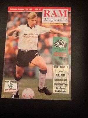 Derby County vs S.C.PISA Anglo Italian Cup football programme 1992