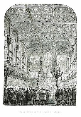 The House of Lords, Palace of Westminster - Engraving by Albert Henry Payne