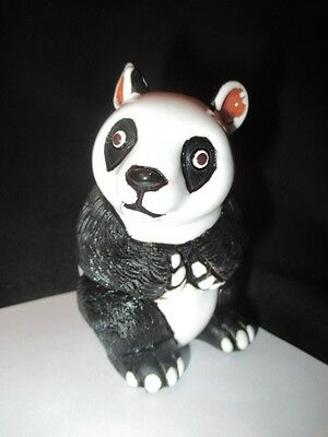 Panda Bear  Peru Folk Art Pottery Figurine Just Adorable