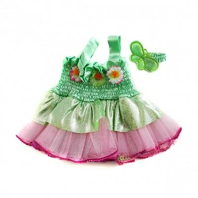 """Fairy outfit dress with earbow teddy bear clothes fit 15"""" bears build a plush"""