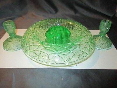 By Cracky Smith Green Depression Glass Console Bowl Frog & Low Candle Holders